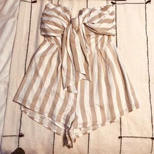 WORN ONCE- strapless stripped romper